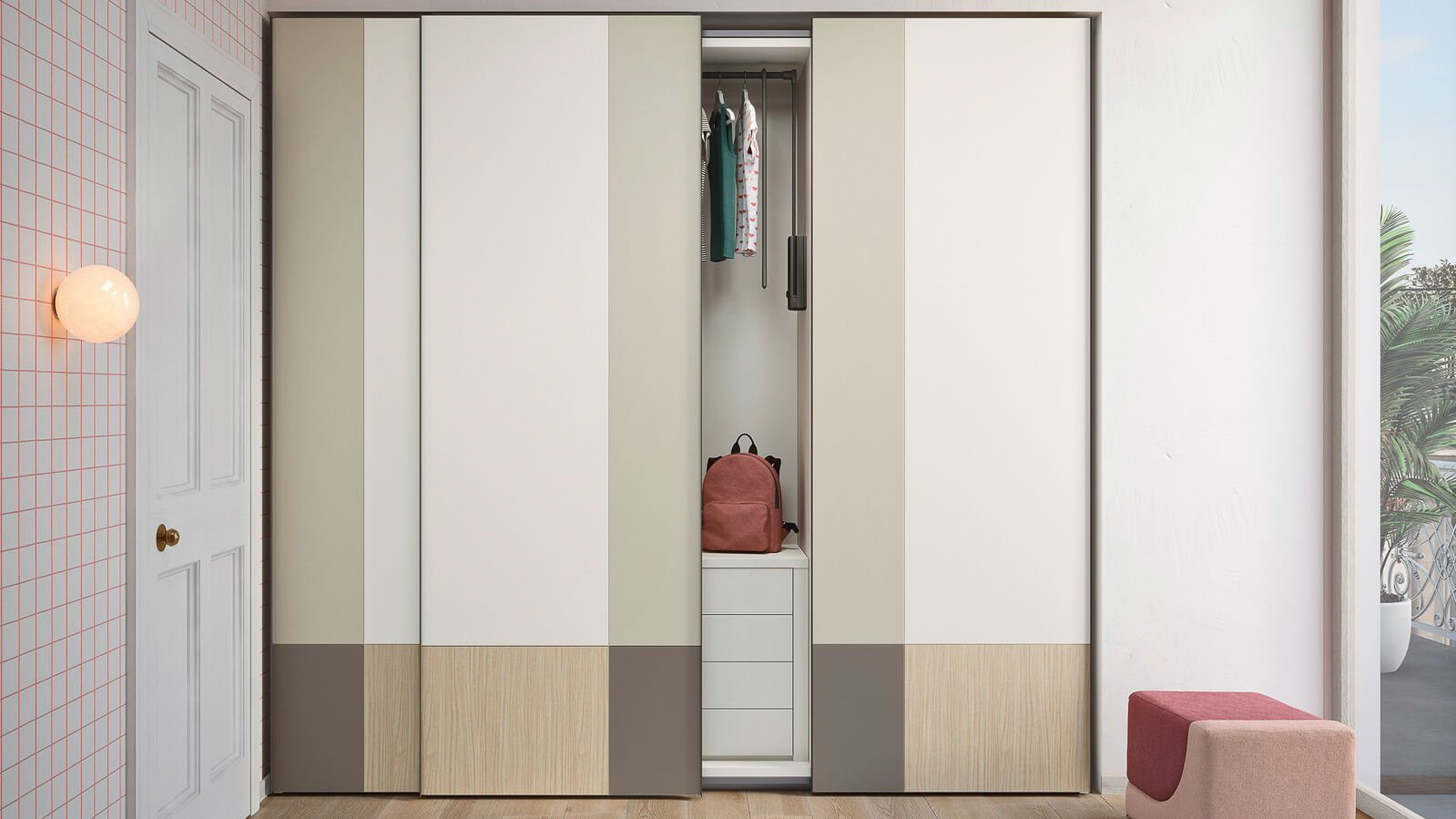 Wardrobe with Lila sliding door