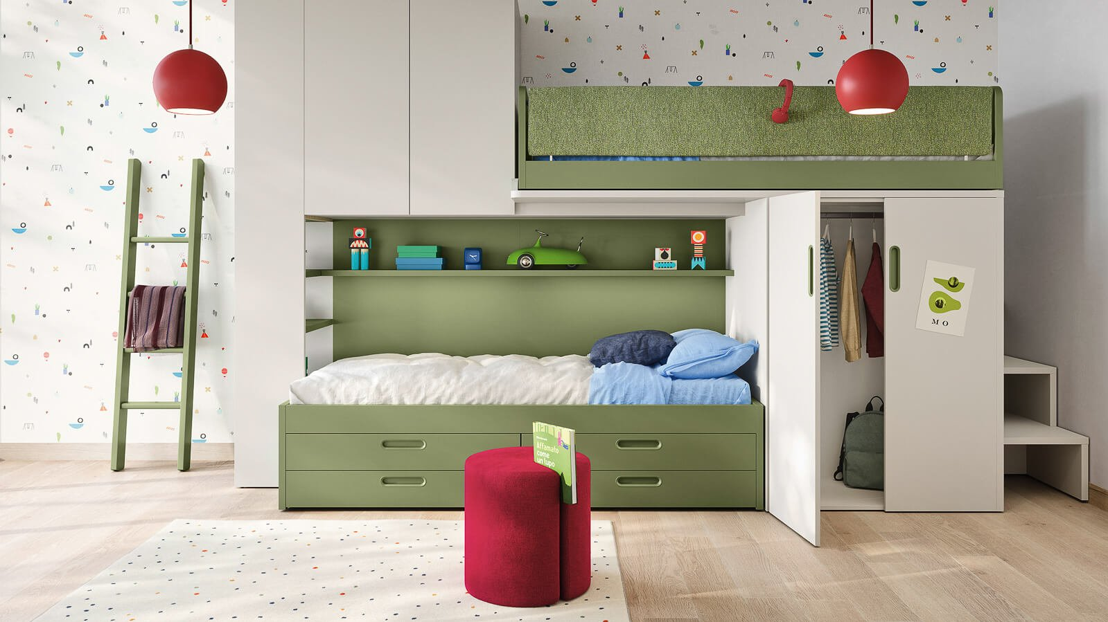 skid sliding loft bed