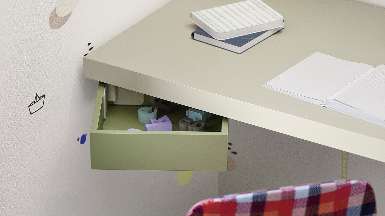Suspended under-desk swing-out tray