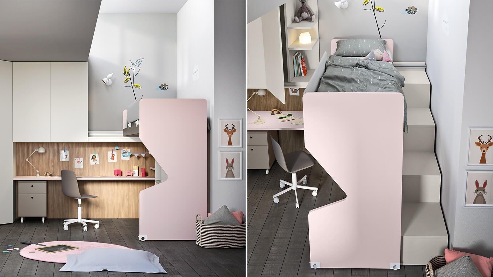 Slide sliding loft bed