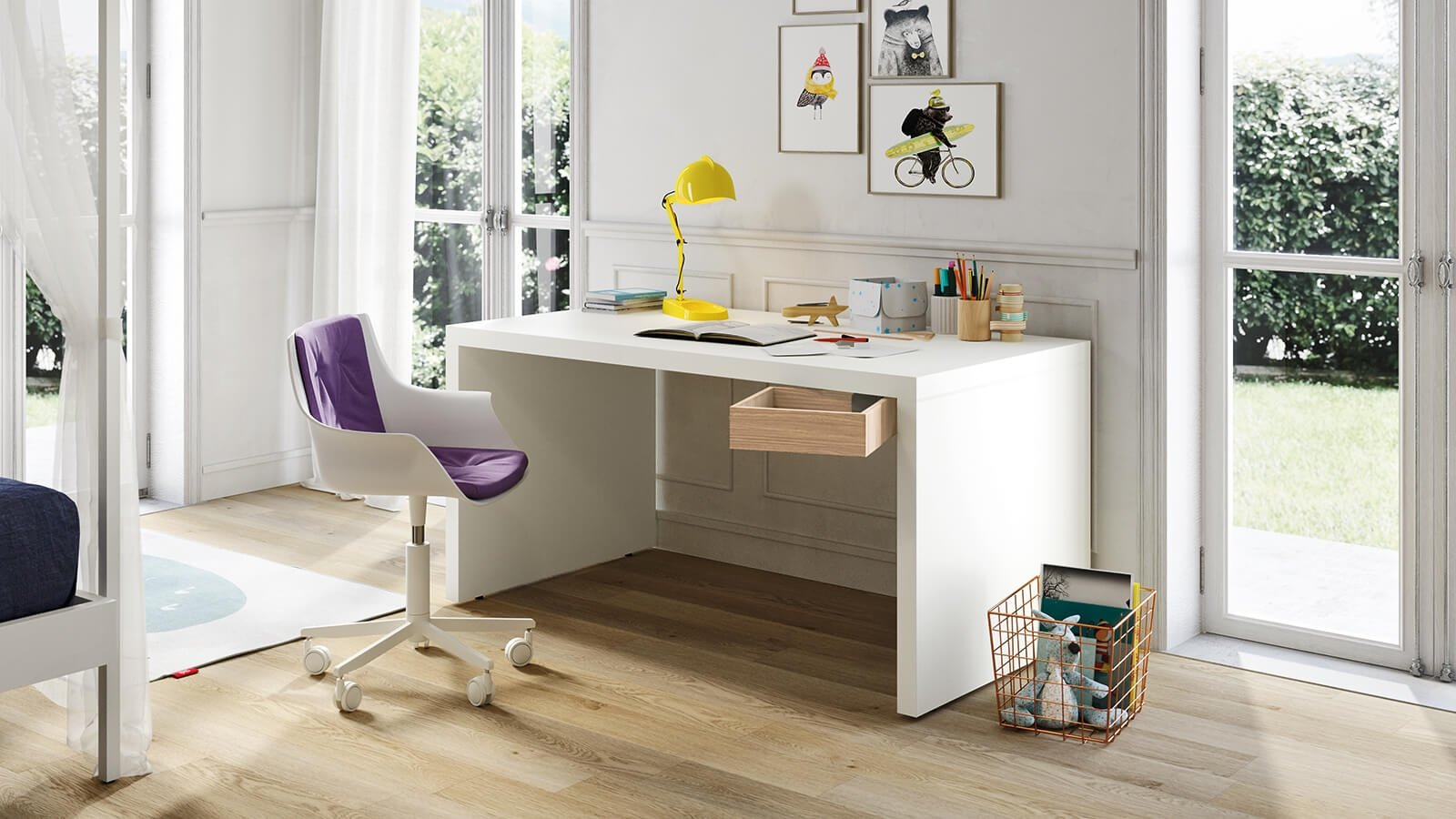 Desk with side panels