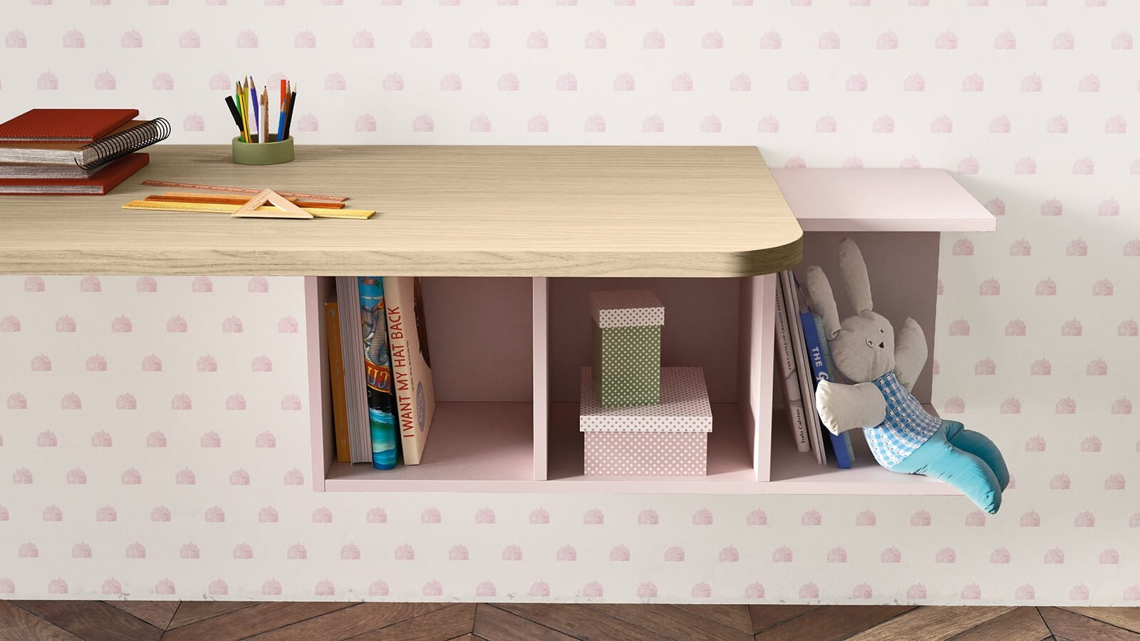 Desk with Luce wall unit